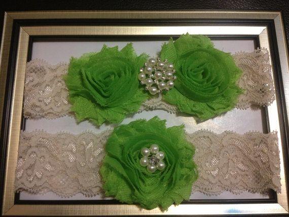 ON SALE  Lime green Wedding Garter Set   Beautiful by HopesBridal, $18.00