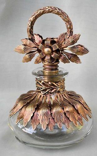 Rare Vintage Rose Gold Ormolu Glass Perfume Bottle