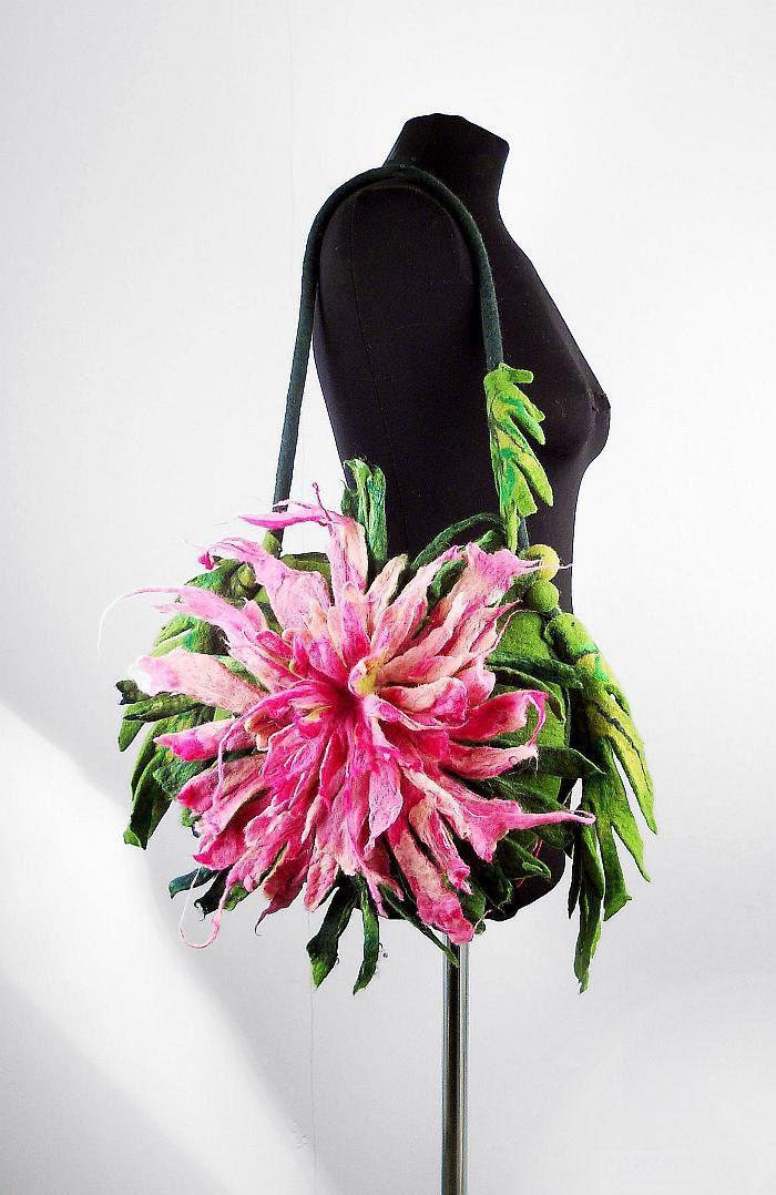 Felted Bag THISTLE Handbag Art Purse Pink Rose Olive wild Felt Nunofelt wearable art Nuno felt shoulder bag fairy floral fantasy boho.
