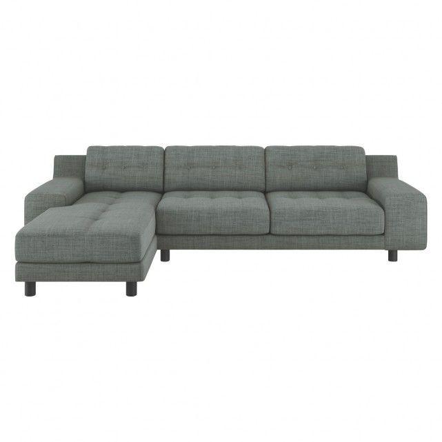 HENDRICKS Grey Italian woven fabric left arm chaise sofa