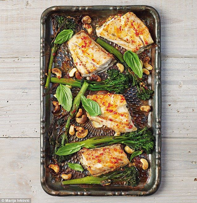 Spicy fish with tenderstem
