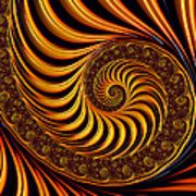 Beautiful Golden Fractal Spiral Artwork  Print by Matthias Hauser