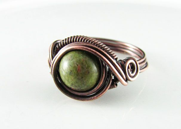 Wire Wrapped Ring Unakite Ring Copper Ring Dragons Eye Ring Wire Wrapped Jewelry Copper Jewelry Unakite Jewelry by PolymerPlayin on Etsy