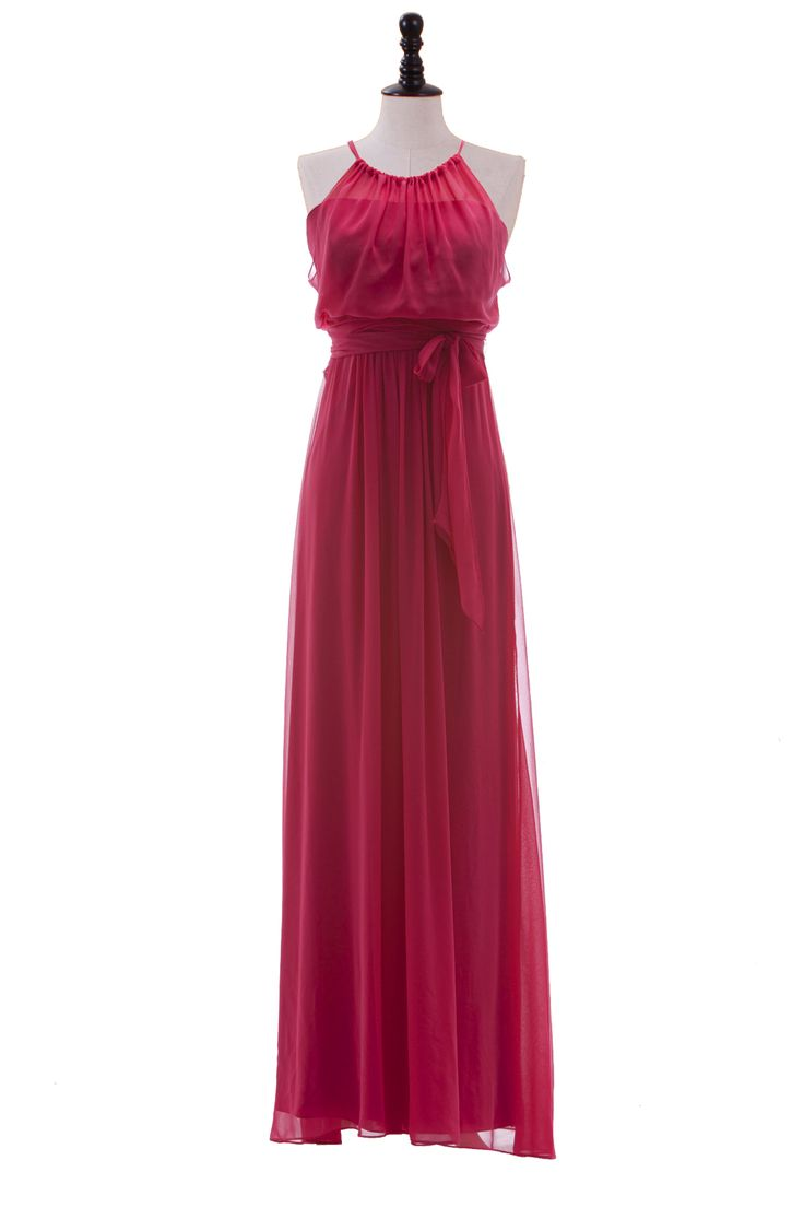 Halter Chiffon Gown with Shirred Bodice