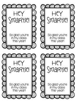 """Hey Smartie!"" Back to School Student Gift Tags FREEBIE Open House Meet the Teacher Gifts"