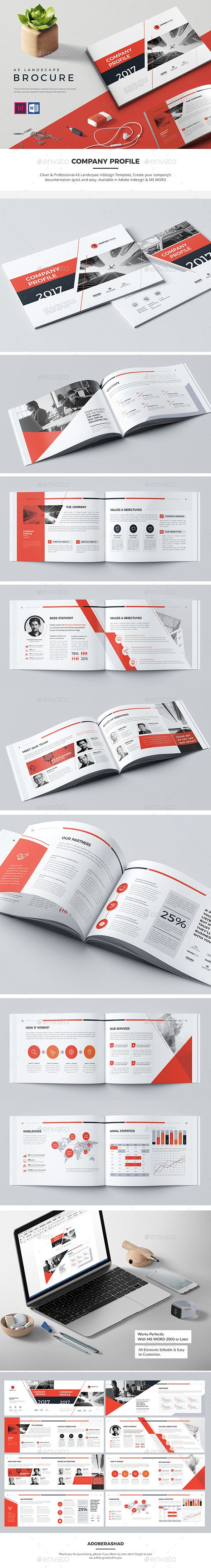 Landscape Company Profile Brochure — InDesign INDD #clean #red • Download ➝ https://graphicriver.net/item/landscape-company-profile-brochure/20007464?ref=pxcr