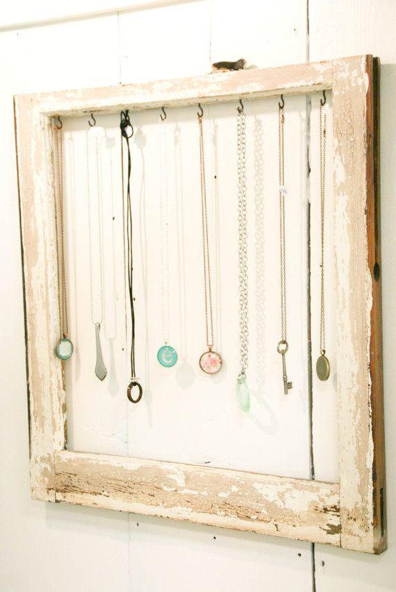 Old Window Necklace Organizer