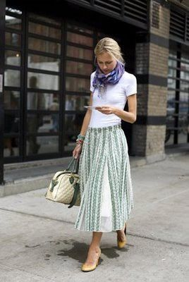 Easy for summer. White t-shirt and flowy skirt + scarf.