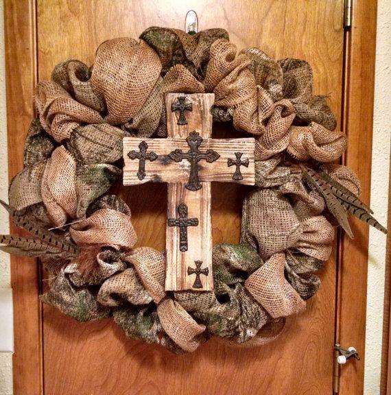 Camo burlap wreath  Etsy listing at https://www.etsy.com/listing/227610078/camo-burlap-24-wreath