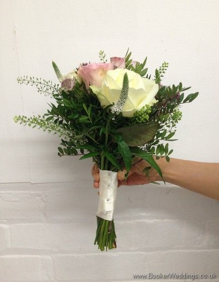 Just Picked Dusky Pink, Lilac and Cream Hand Tied Bridesmaid Bouquet with Roses, Spray Roses, Veronica, Green Bells and Astrantia Side View  Wedding Flowers Liverpool, Merseyside, Bridal Florist, Booker Flowers and Gifts, Booker Weddings  #liverpoolwedding #weddingflowers #liverpoolflowers