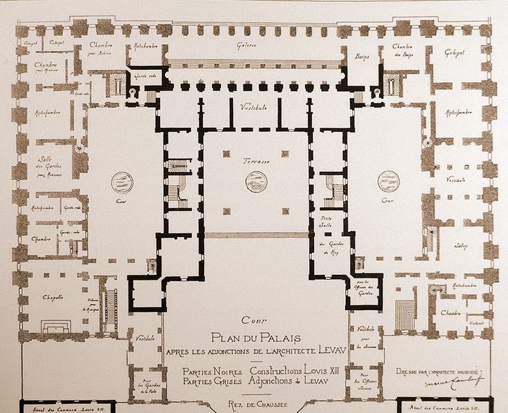 Figure 44 floor plan of versailles arth 396 pinterest for Versailles house floor plan