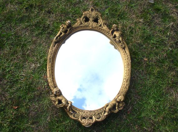 1960s Cherub Mirror Hanging Mirror Vintage Home by FillyGumbo