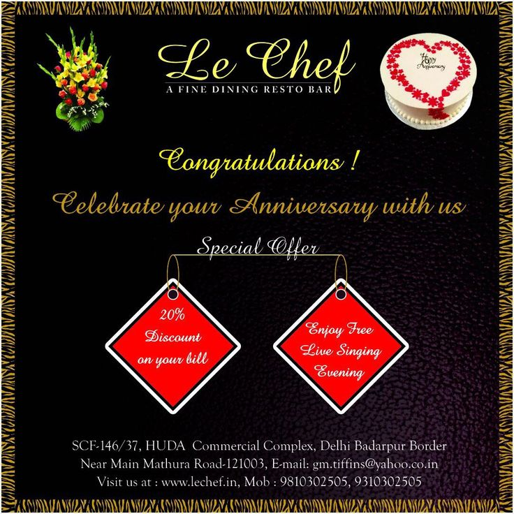 Le Chef Resto Bar Congratulations Celebrate your Anniversary with us Special Offer 20% Discount on your bill Enjoy free Live Singing Le Chef is a fine dining restaurant in Faridabad offering delicious Indian Chinese Continental food. If looking for best North Indian restaurant in Faridabad #For #BestFood #Faridabad #HomeDelivery #Food #Restaurant #FoodDelivery #Delicious #Weekend #ComfortFood #Discount #BestRestaurants #FamilyRestaurants #Sale #NightDelivery #Hunger #Foodie #Offer #LoveFood…