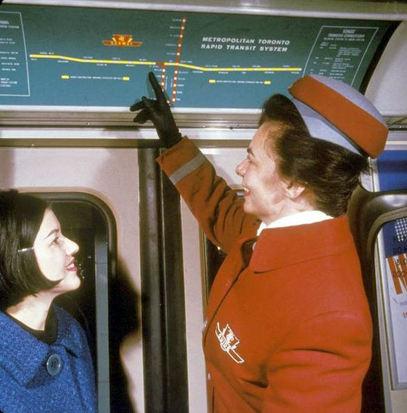 Vintage photo of TTC subway line route map, 1966, when the Bloor-Danforth line opened.  Via Derek Flack's blog post on blogTO.