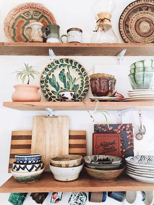 48 Amazing Kitchen Cabinets and Shelves storage Design Ideas – boho  style
