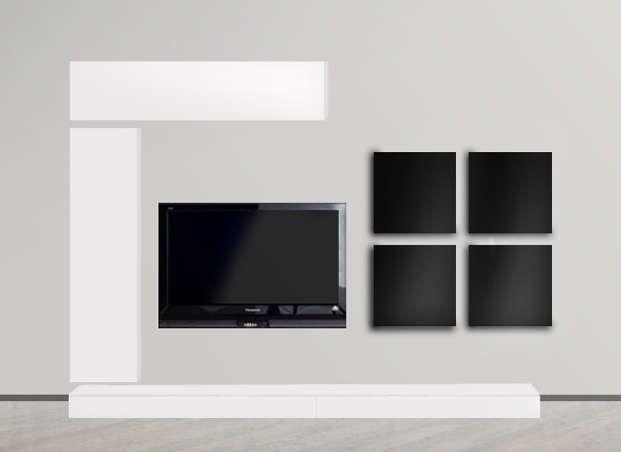 Les 25 meilleures id es de la cat gorie meuble tv noir for Meuble mural noir laque