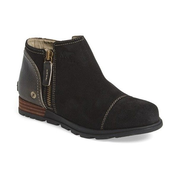 """SOREL 'Major Low' Ankle Boot, 1"""" heel ($130) ❤ liked on Polyvore featuring shoes, boots, ankle booties, ankle boots, leather booties, low ankle boots, military fashion and leather ankle boots"""