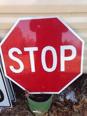 "Vintage 30"" Aluminum Street Road Stop Sign Traffic Memorabilia Man Cave Decor"