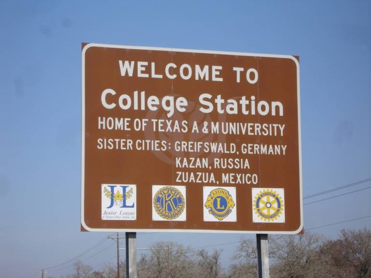 Texas A & M University Aggies highway sign - Wecome to College Station