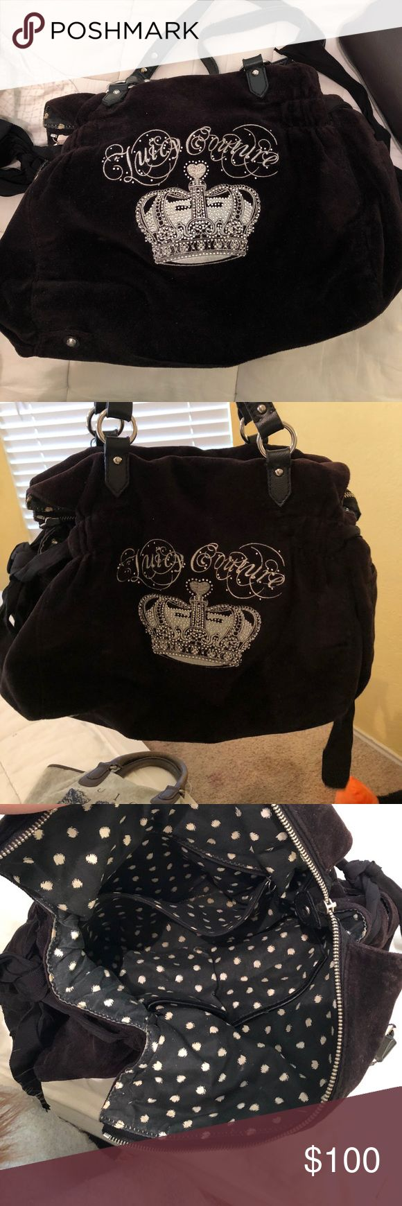 Juicy couture purse Large, black juicy couture purse, 3 pockets inside. Super cute, it's in good condition. Juicy Couture Bags Shoulder Bags