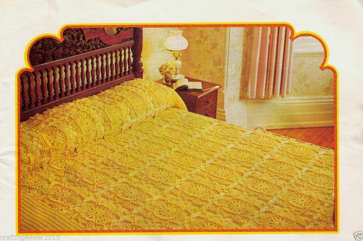 VINTAGE SUNSHINE FLORAL STAR PATTERN  D/BED/S/BED BEDSPREAD 4PLY CROCHET PATTERN
