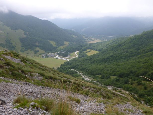 On a hike looking down at the floor of the valley in the Pica De Europa Mountains.