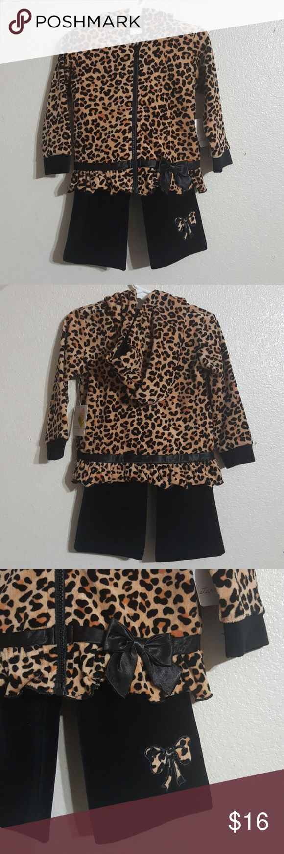 NEW STARTING OUT ANIMAL PRINT SET Adorable Starting Out outfit with a cute animal print.  Zip up hoodie and black pants with bow detail in velvet fabric.  Size 24months NWT. Starting Out Matching Sets