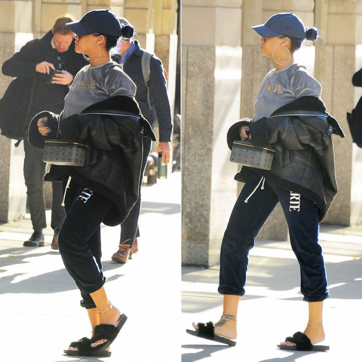 Rihanna wearing Donnybrook vintage faces print coat, Nasaseasons I came to break hearts hat, Citizens of Humanity Premium Vintage Arley jeans, Puma by Rihanna fur slides, Married to the Mob bitch socks