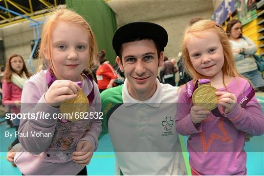 13 October 2012; Pictured at a major Paralympic Talent Search Event, supported by Cadbury, was Paralympic medallist Michael McKillop with 8 year old Olivia Cadogan, left, and 6 year old Georgia Cadogan, both from Drimnagh, Co. Dublin. The event took place today at UCD Sports Centre and aimed to encourage people with a physical disability to get involved in sport and to unearth potential Irish talent for the Rio 2016 Paralympic Games. Athletes from Ireland's most successful Paralympic Team…