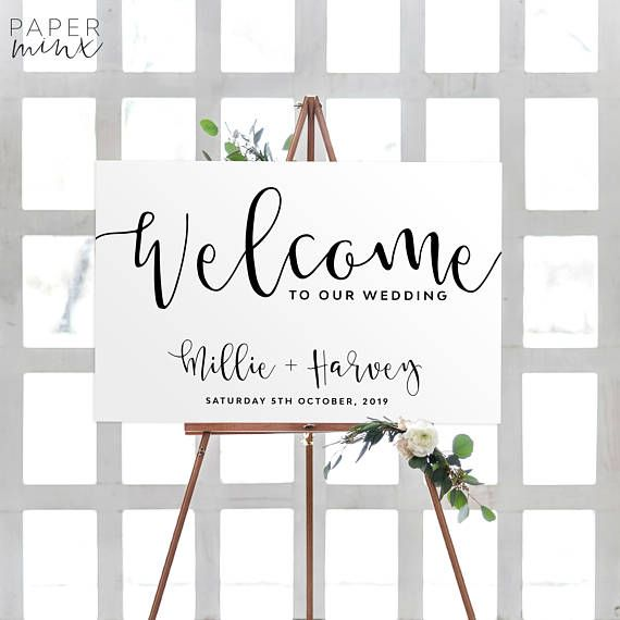 Calligraphy Welcome Sign  Printable Black and White Wedding
