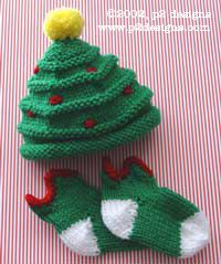 Christmas Tree Hat & Elfin Socks -free pattern