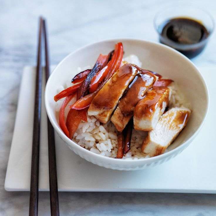 Nobu Matsuhisa's easy teriyaki sauce is made with chicken broth, soy sauce, sugar, mirin and sake. It's great over tender chicken breasts and charred frying peppers.