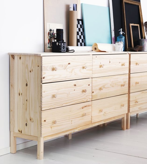 The TARVA 6-drawer chest provides ample storage and its unfinished pine frame is a blank canvas waiting to be personalized.