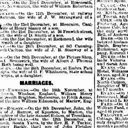 STANWAY, daughter born to J. B. and Bessie. Leader, 5 Jan 1889, p. 40, 'Family notices'.