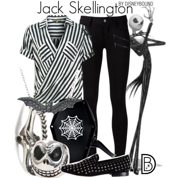 Jack Skellington by leslieakay on Polyvore featuring Patrizia Pepe, Paige Denim, Communication Love, Rachel Entwistle, DB Designs, disney, disneybound and disneycharacter