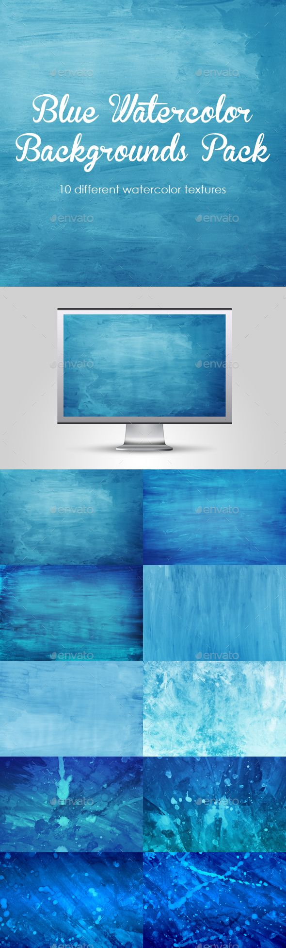Blue Watercolor Backgrounds Pack – 10 Winter Watercolor Textures. Watercolor painted blue backgrounds. Hand drawn, simple, stylish, perfect for your projects, manipulations, flyers, presentation, design, ads, posters ; you can also use for social networks; facebook, twiter, google, pinerest etc.