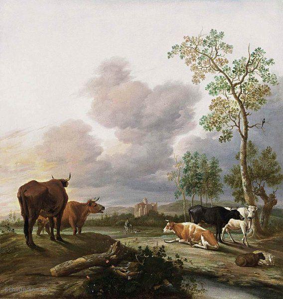 Painting Quot Landschap Met Koeien En Schapen Quot By Anthonie Van Borssum Www Schilderijen Nu