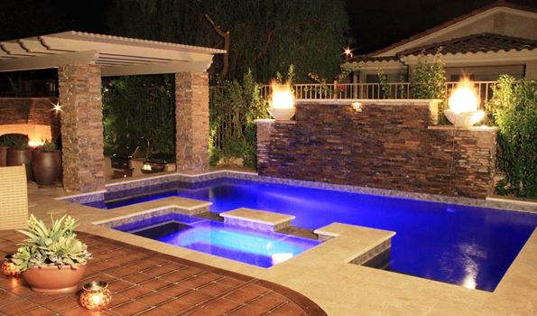 Geometric Pools Designs geometric 06 Stacked Stone Wall With Waterfalls Make This Pool Something Special Geometric Pool Architectural Pools Pinterest Home Design Swimming Pool Designs