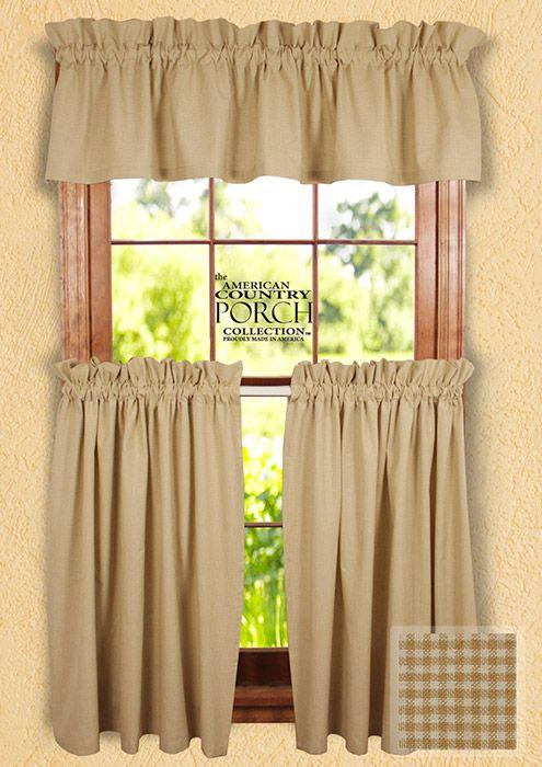 Cottage Wheat Minicheck Curtain Valances