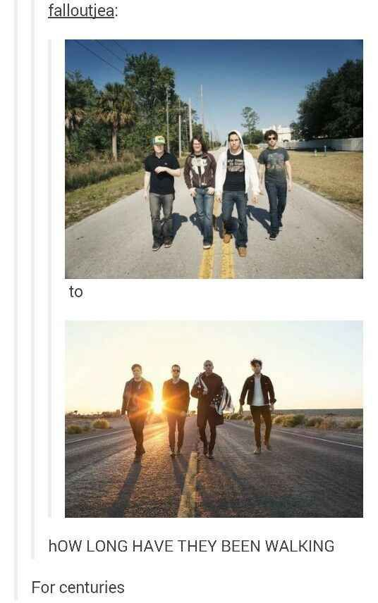 This important question about FOB's tired feet:   CAN WE NOT IGNORE THIS AND THE FACT THAT THEY'RE STANDING IN THE SAME SPOTS LIKE PICTURE GOING TO TAKE THE PICTURE BUT ANDY AND PETE WERE SWITCHED AND PATRICK JUST IA LIKE WAIT NO NOT YET HOLD UP AND MAKES THEM SWITCH PLACES SO THEY CAN RELIVE THE MEMORY AND APPRECIATE HOW FAR THEY'VE COME THIS JUST GIVES ME A LOT OF FEELINGS