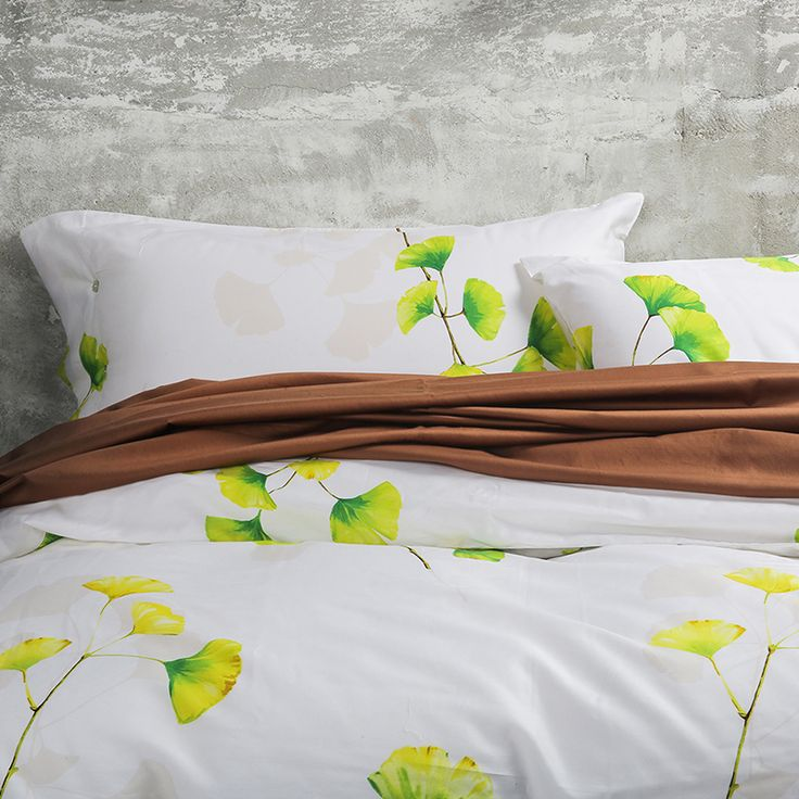 100% Cotton Bedding Set Plant flower Ginkgo leaf printed Duvet Cover Set White Home textiles King Queen bed Size brown bed sheet