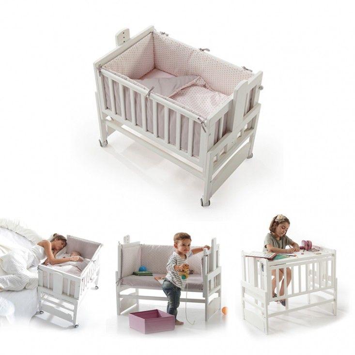 Mini cuna Allegra 4 en 1: Allegra es a la vez una minicuna pensada para estar muy cerca de tu bebé. Se convierte en juguetero, banco donde sentarse o un práctico escritorio. Madera maciza lacada. Medidas: 85x53x80/104 cm.