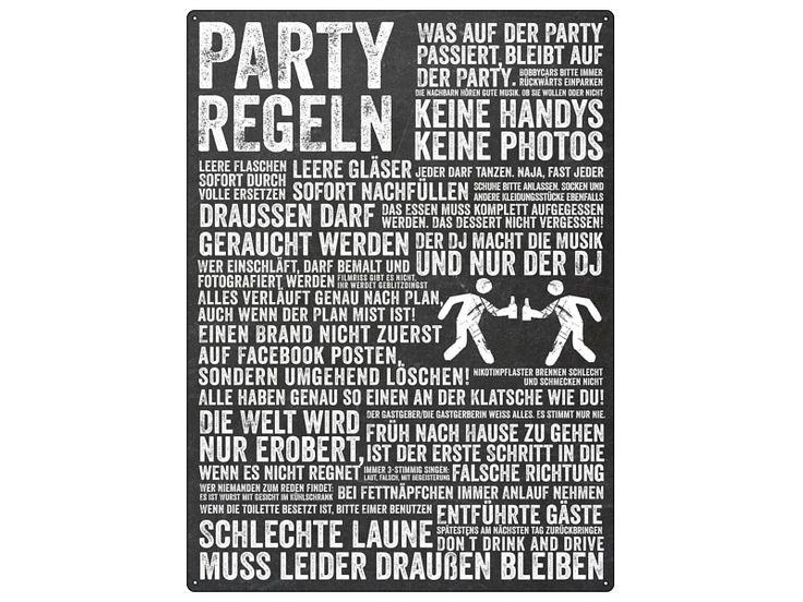 WANDTAFEL Blechschild PARTY REGELN Feier Fest  von Interluxe via dawanda.com