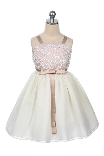 Charmeuse/Lace Bodice and Chiffon Skirt - Taupe