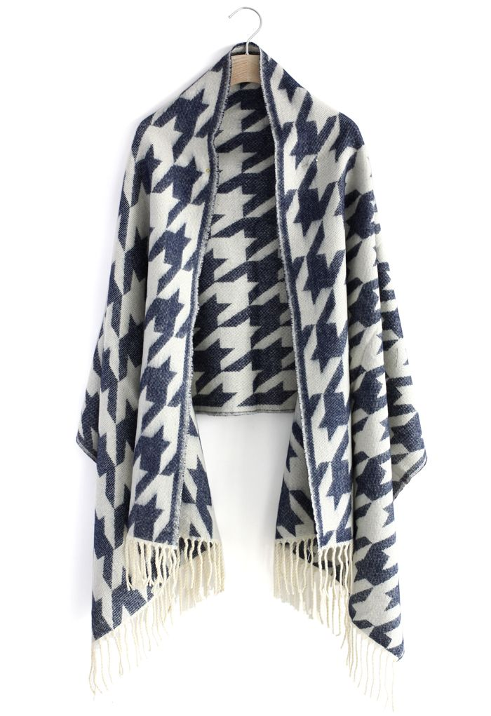 Houndstooth Woolen Scarf - scarf - Goods - Retro, Indie and Unique Fashion
