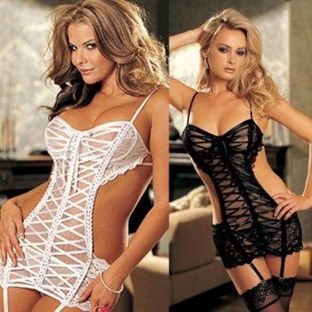 HOT New Sexy Women's Lingerie Nightwear Costumes Lace Net Ladies Sleepwear Dress