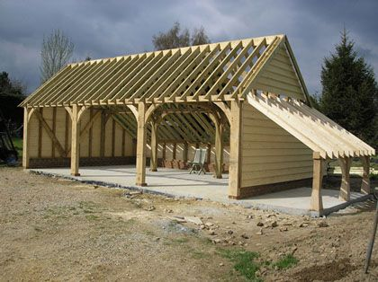 Country Oak Barn Picture Portfolio of Oak framed garage frame only - we build rest