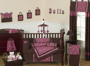 Designer Bella Pink and Brown Baby Girl Bedding 9pc Crib Set by Sweet Jojo Designs