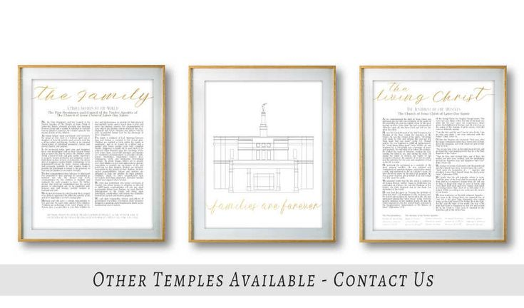 The Living Christ The Family Proclamation Snowflake Arizona Temple Set of 3 Digital Print Minimalist gold Lds Printable art wall decor by LineDesignArts on Etsy