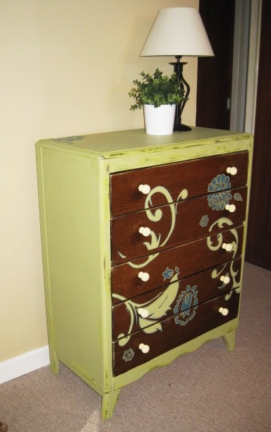 Up-cycled vintage chest of drawers, love green and blue together x